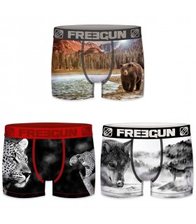 Lot de 3 Boxers Freegun homme polyester recyclé Animals