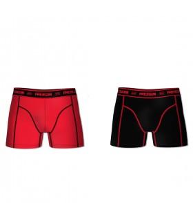 Lot de 2 Boxers coton homme AKTIV Rouge et Noir