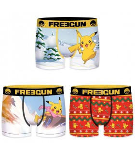 Lot de 3 Boxers Freegun homme Pokemon Winter