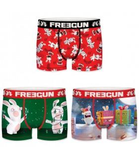 Lot de 3 Boxers Freegun homme Lapins Crétins Christmas