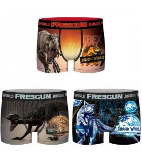 Lot de 3 Boxers Freegun homme Jurassic World Digital, Digital, Indominus et Tyranausorus