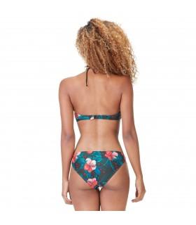Maillot de bain femme 2 pièces haut triangle croisé culotte Hibiscus