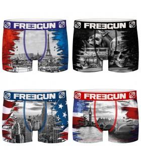 Lot de 4 Boxers Freegun homme Nations