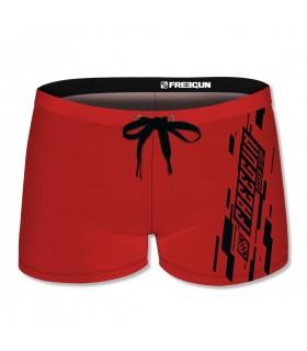 Boxer de bain homme uni avec logo rubber print noir