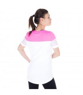 T-shirt femme rose et blanc freegun vue de dos