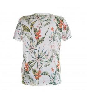 T-shirt garçon motifs fleurs vert et rouge Freegun