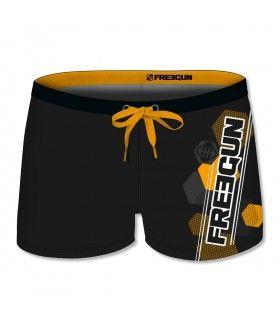 Boxer de Bain garçon uni avec logo rubber print