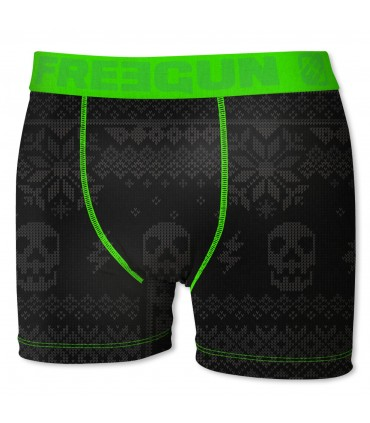 Boy's Skull Black and Green Boxer