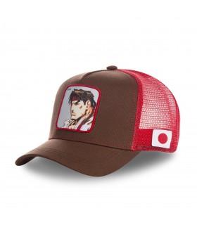 Casquette Capslab Street Fighter Ryu Marron filet Rouge