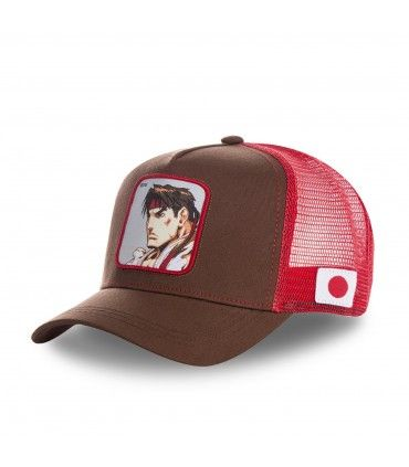 Casquette Capslab Street Fighter Ryu Marron filet Rouge