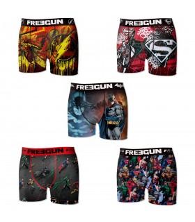 Lot de 5 boxers homme microfibre dc comics freegun