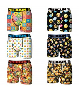 Lot de 6 boxers homme motifs emotik freegun multicolore