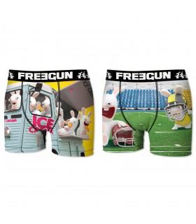 Lot de 2 Boxers Homme Freegun Lapins Crétins