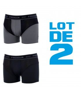 Lot 2 Boxer Freegun homme Aktiv Performance Gris et Noir