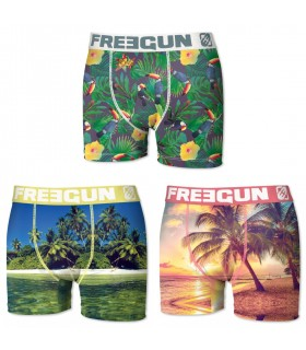 Lot de 3 boxers Homme Freegun Sable Fin Multicolore