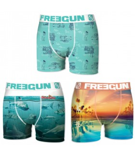 Lot de 3 boxers Garçon Freegun Sea Multicolore