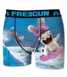 Boxer Garçon Freegun Lapins Crétins Snowboard Bleu