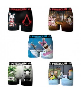 Lot de 5 boxers Homme Freegun Lapins Crétins Multicolore