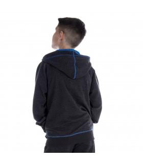 Sweat à capuche garçon Gris et Bleu dos freegun