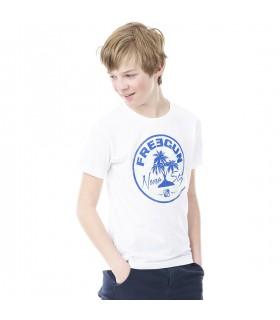T-shirt Freegun Palmier Blanc et Bleu