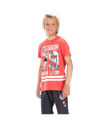 T-shirt Freegun 79 Rouge et blanc