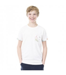 T-shirt Freegun Flower Blanc