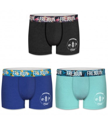 Lot de 3 Boxers Coton Homme Freegun Uni Multicolore