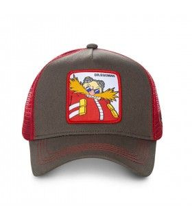 Casquette Capslab Sonic Dr Eggman Marron filet Rouge vue de face