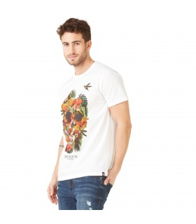 T-shirt Homme Freegun Flowers Blanc