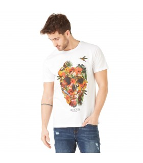 T-shirt Homme Freegun Flowers Blanc