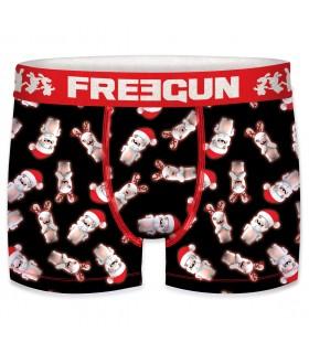 Boxer Homme Freegun Lapins Crétins Christmas Noir