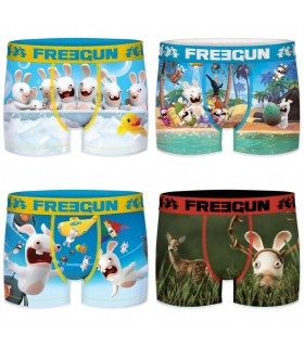 Lot de 4 Boxers Homme Freegun Lapins Crétins Fun Multicolore