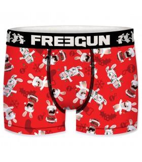 Boxer Garçon Freegun Lapins Crétins Père Noël Rouge