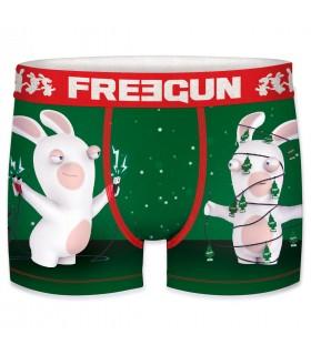 Boxer Garçon Freegun Lapins Crétins Sapin Vert