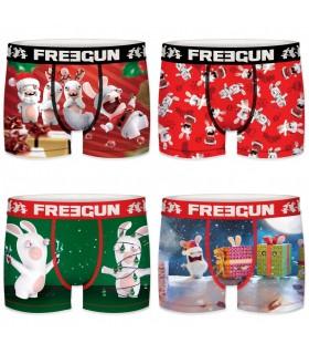 Lot de 4 Boxers garçon Freegun Lapins Crétins Christmas Multicolore