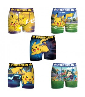 Lot de 5 Boxers Homme Freegun Pokemon Pikapika Multicolore
