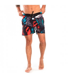 Boardshort court homme Freegun Waves Rouge et Bleu