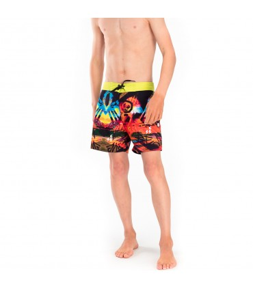 Boardshort court garçon Freegun Beatch Jaune et Orange