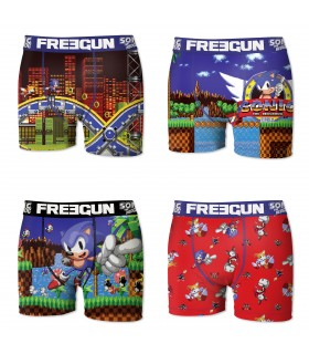 Lot de 4 Boxers Freegun homme Sonic Sega Multicolore
