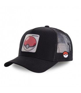 Men's Capslab Pokemon Pokeball Black Trucker Cap