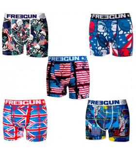 Boxers Homme Lots De 5 Boxers Homme Flag, Freegun