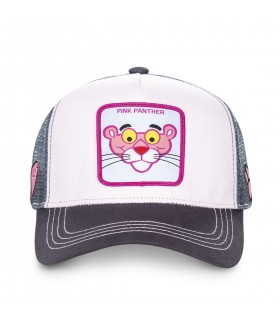 Casquette Capslab trucker Panthere rose blanc