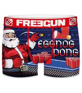 Boxer homme en microfibre eggnog Pong Freegun bleu et rouge