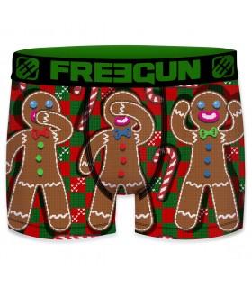 Boxer garcon en microfibre Biscuit Freegun vert et rouge