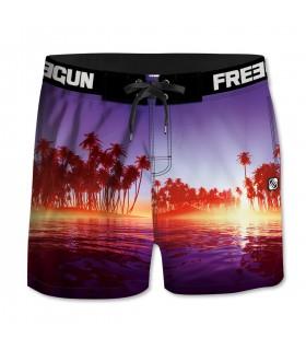Boardshort court homme Freegun palmiers Multicolore