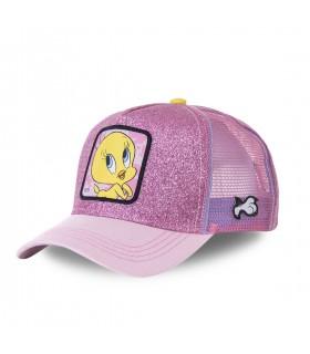 Women's Capslab Looney Tunes Tweety Pink Glittery Trucker Cap