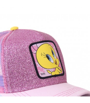 Casquette Capslab trucker Looney Tunes Tweety rose pailleté