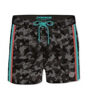 Boardshort Court Homme Freegun Camouflage Noir