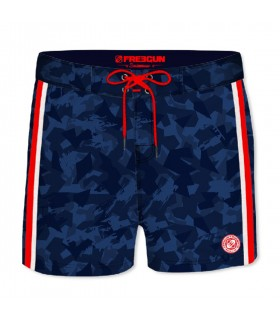 Boardshort Court Homme Freegun Camouflage Rouge
