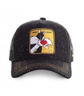 Men's Capslab Looney Tunes Sylvester Black Trucker Cap